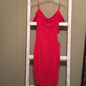 Red , spaghetti strap with sleeves off shoulders